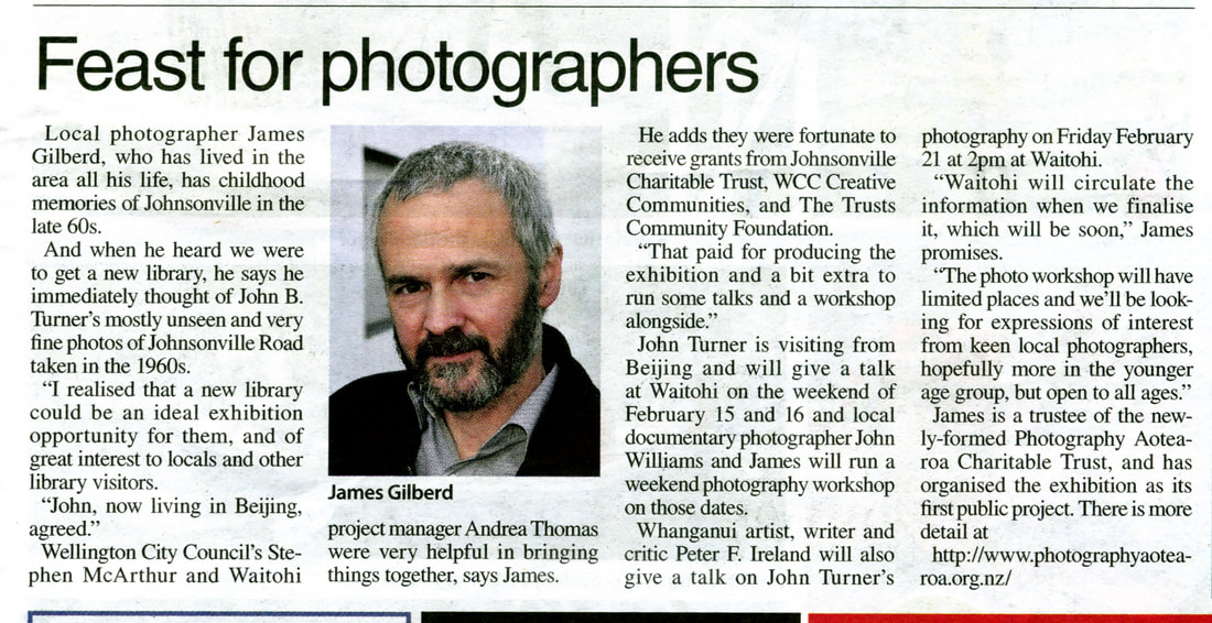 Scan of article 'feast for photographers' from Independent Herald, 23/1/2020, james Gilberd on John B. Turner's Johnsonville series of 1960s photographs at Waitohi